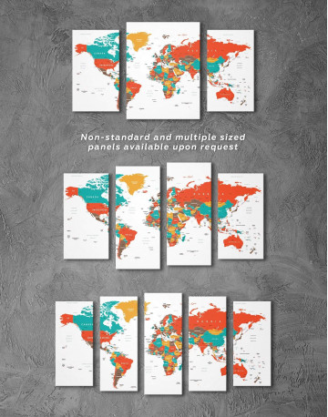 Modern World Map With Pins Canvas Wall Art - image 5
