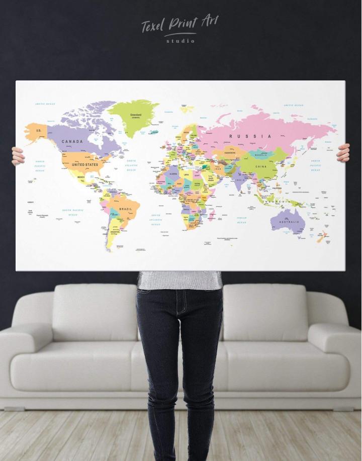 Pushpin World Map Canvas Wall Art - Image 1