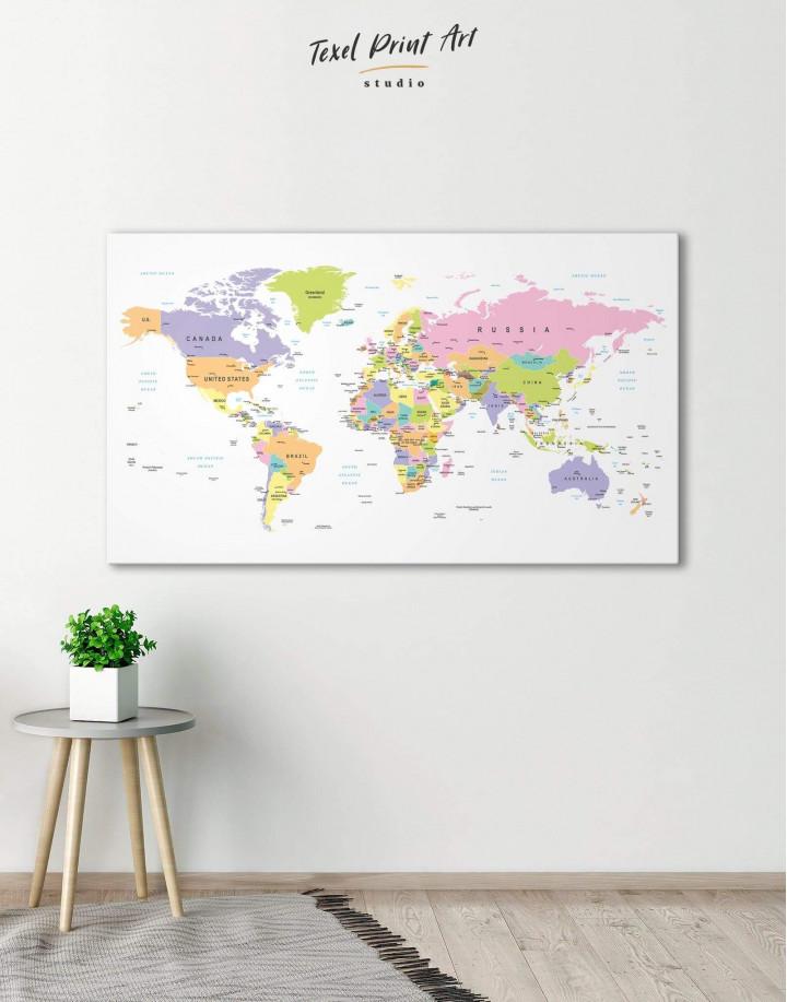 Pushpin World Map Canvas Wall Art