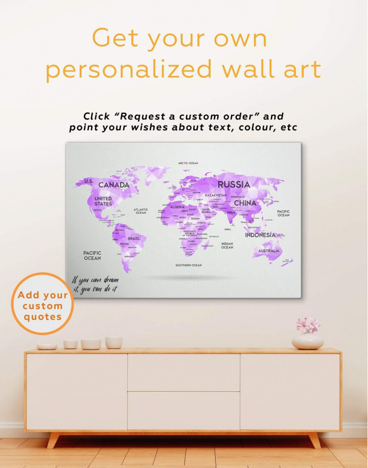 Abstract Pink World Map Canvas Wall Art - Image 1