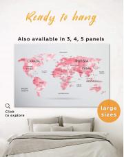 Abstract Pink World Map Canvas Wall Art - Image 0