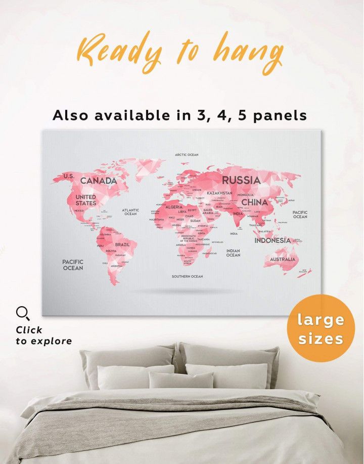 Abstract Pink World Map Canvas Wall Art - Image 0