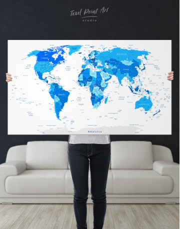 Blue Detailed World Map Canvas Wall Art - image 2