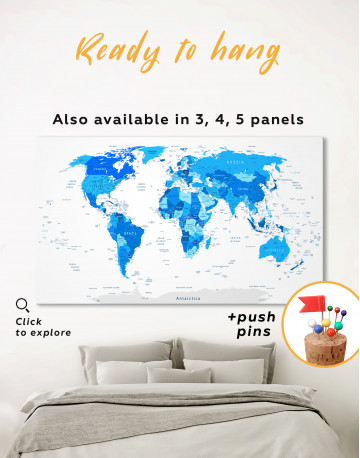 Blue Detailed World Map Canvas Wall Art - image 3