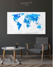 Blue Detailed World Map Canvas Wall Art