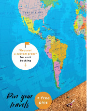 Travel Map with Pins Detailed  Canvas Wall Art - Image 3
