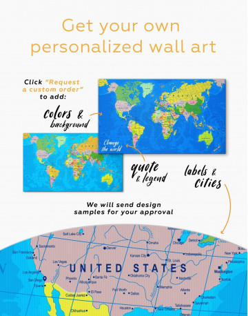 Travel Map with Pins Detailed Canvas Wall Art - image 2
