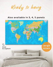 Travel Map with Pins Detailed  Canvas Wall Art - Image 0