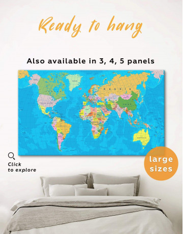 Travel Map with Pins Detailed Canvas Wall Art