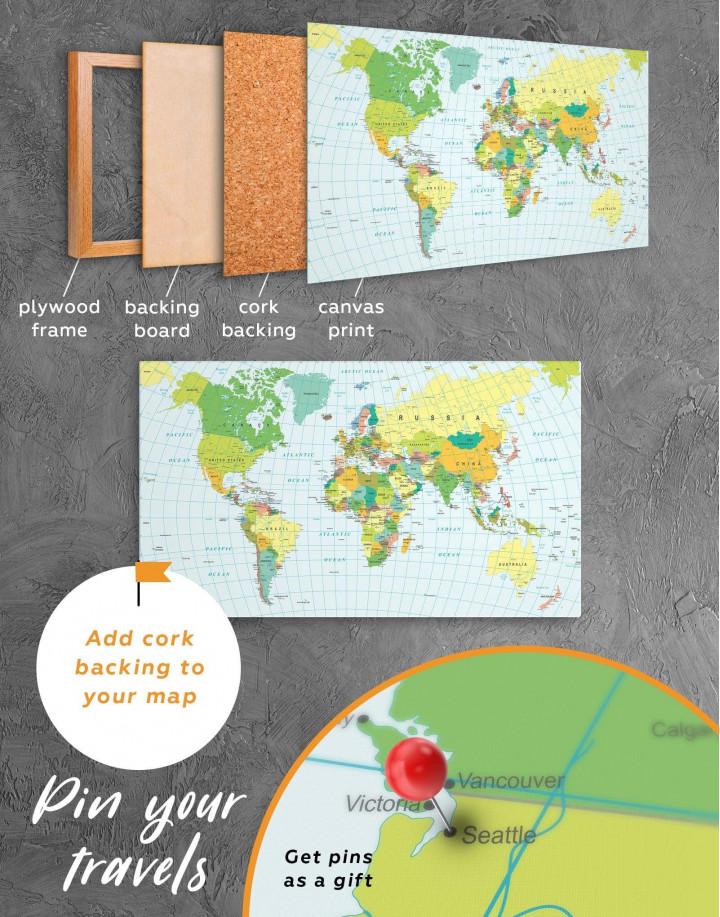 Classic Push Pin Map  Canvas Wall Art - Image 4