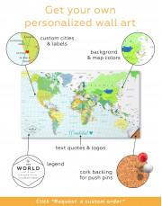 Classic Push Pin Map Canvas Wall Art - Image 3