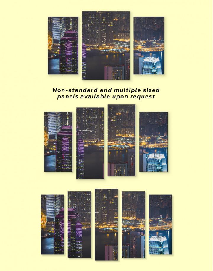Night Hong Kong Cityscape View Canvas Wall Art - Image 1