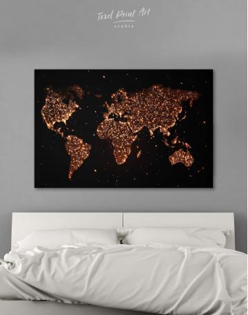Night World Map Canvas Wall Art - image 1