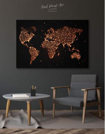 Night World Map Canvas Wall Art