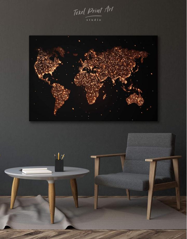 Night World Map  Canvas Wall Art - Image 0