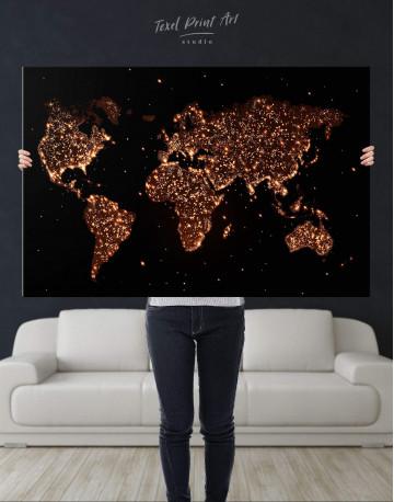 Night World Map Canvas Wall Art - image 2