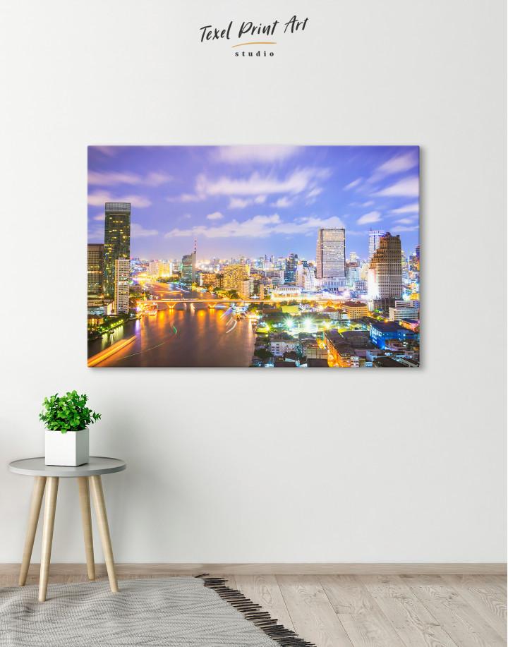 Evening Bangkok Skyline Canvas Wall Art - Image 1