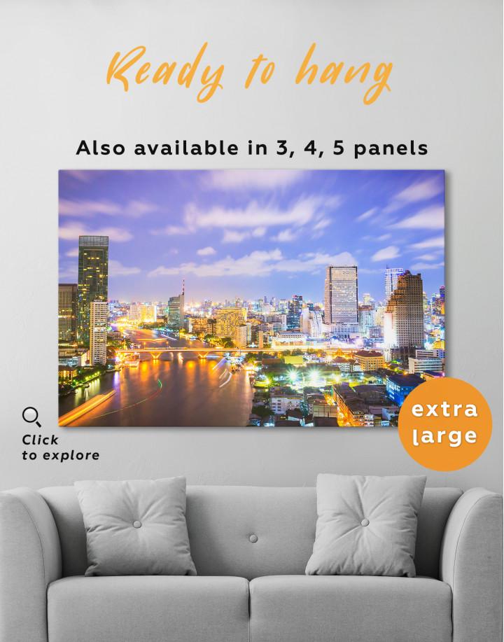 Evening Bangkok Skyline Canvas Wall Art