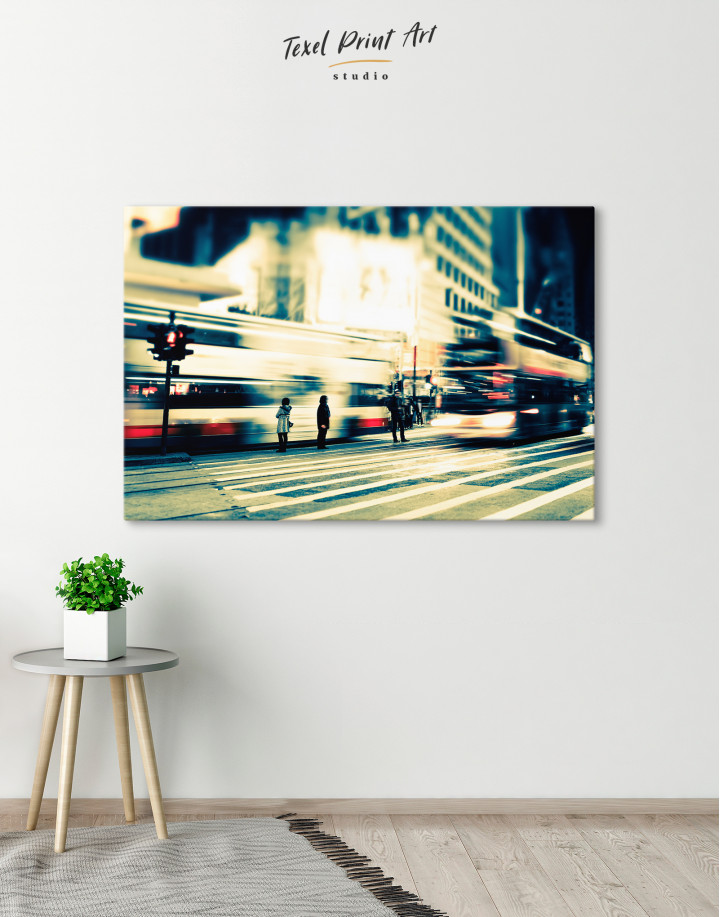 Night City Street Photography Canvas Wall Art - Image 2