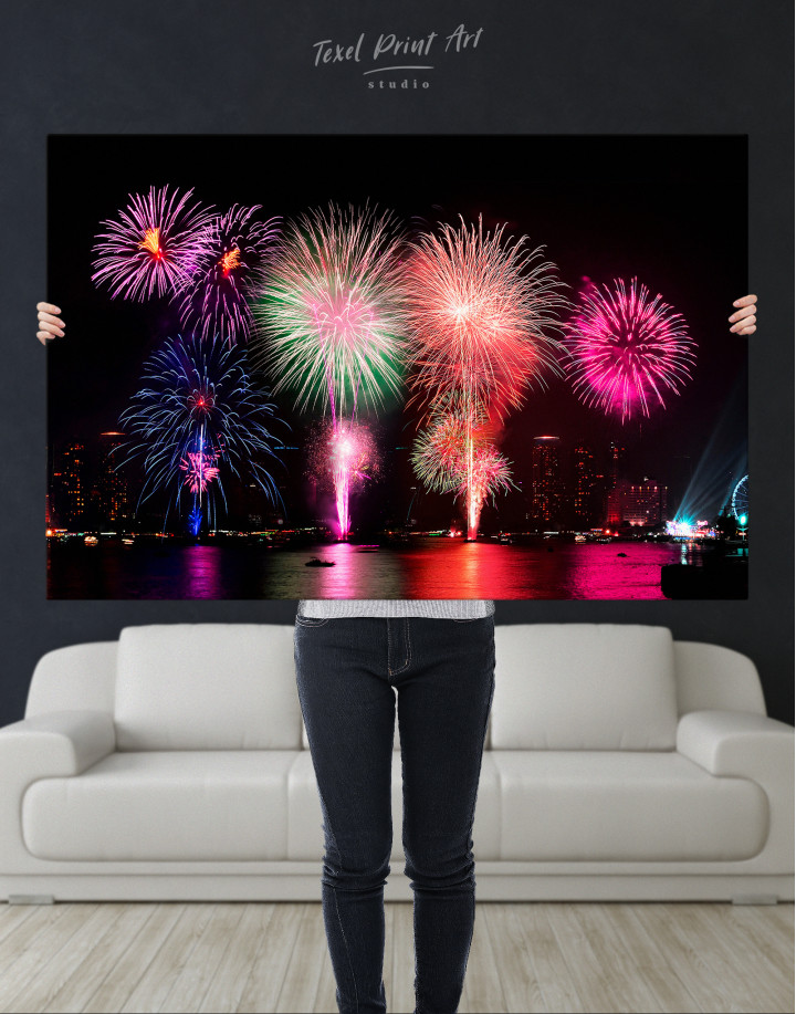 Fireworks on Night Cityscape Canvas Wall Art - Image 3