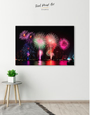 Fireworks on Night Cityscape Canvas Wall Art - Image 4