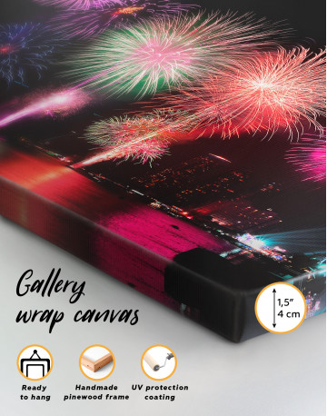 Fireworks on Night Cityscape Canvas Wall Art - image 5
