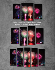 Fireworks on Night Cityscape Canvas Wall Art - Image 1