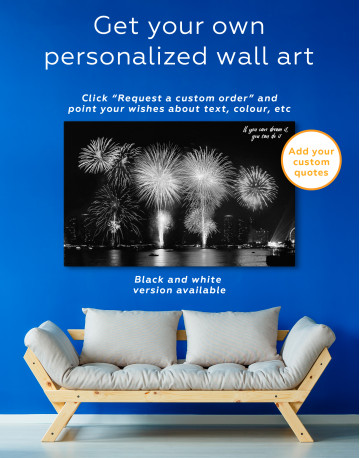 Fireworks on Night Cityscape Canvas Wall Art - image 6