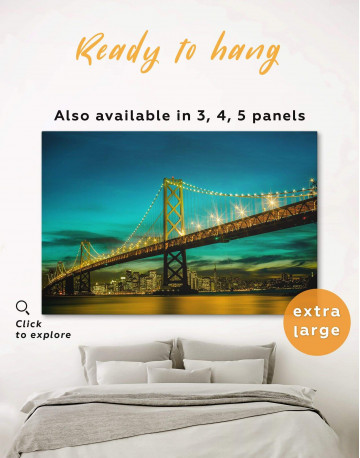 Golden Gate at Night Canvas Wall Art