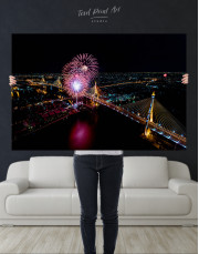 Aerial View of Fireworks Canvas Wall Art - Image 1