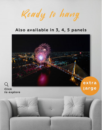 Aerial View of Fireworks Canvas Wall Art