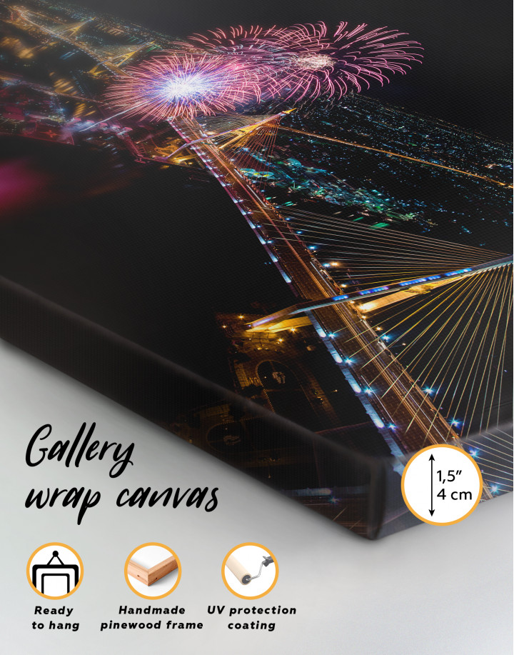 Aerial View of Fireworks Canvas Wall Art - Image 4
