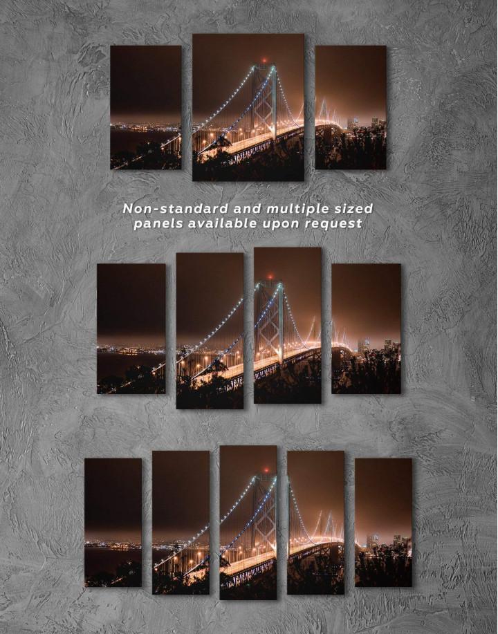 Night Golden Gate  Canvas Wall Art - Image 4