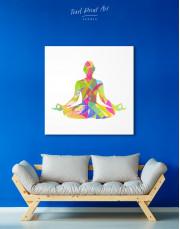 Multicolor Yoga Silhouette Canvas Wall Art