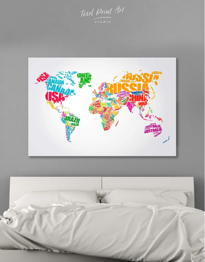 Typography World Map  Canvas Wall Art - Image 1