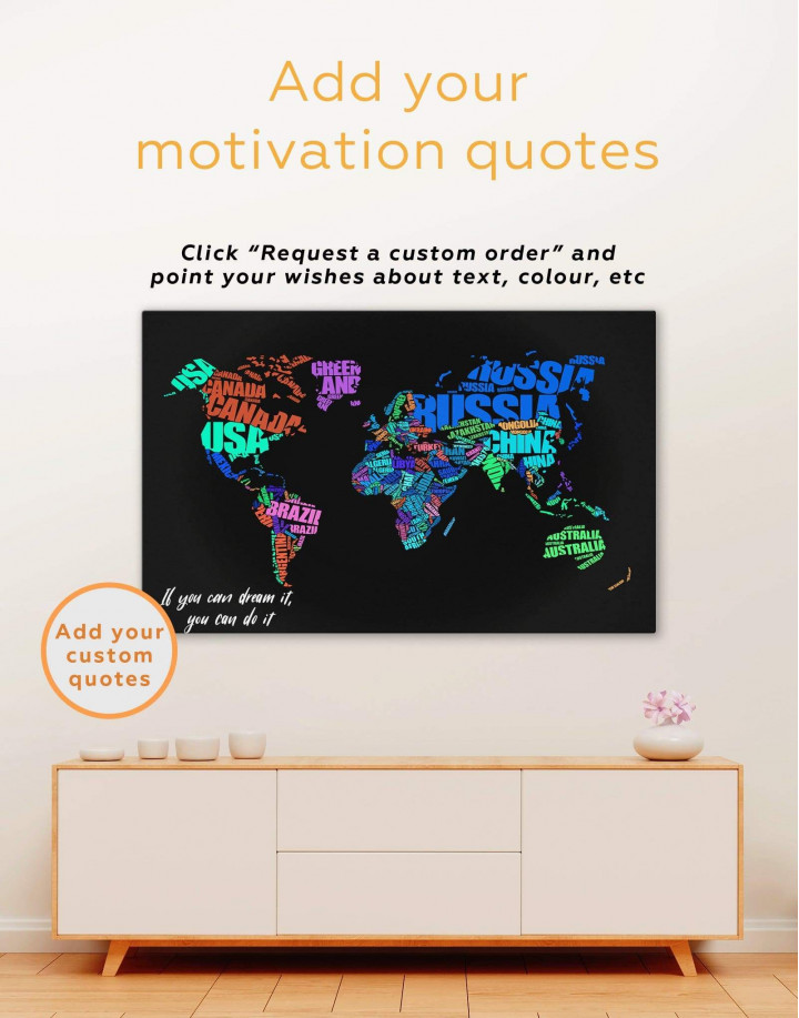 Typography World Map  Canvas Wall Art - Image 6