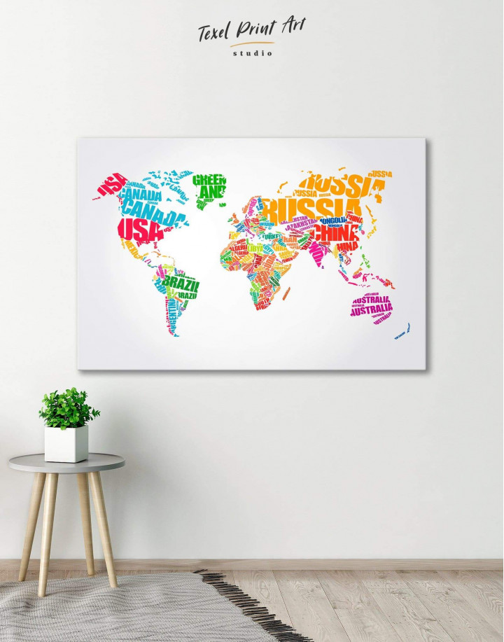 Typography World Map  Canvas Wall Art - Image 0
