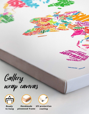 Typography World Map Canvas Wall Art - image 3