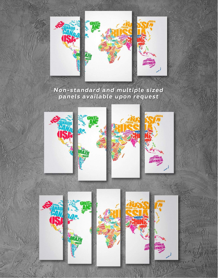 Typography World Map  Canvas Wall Art - Image 5