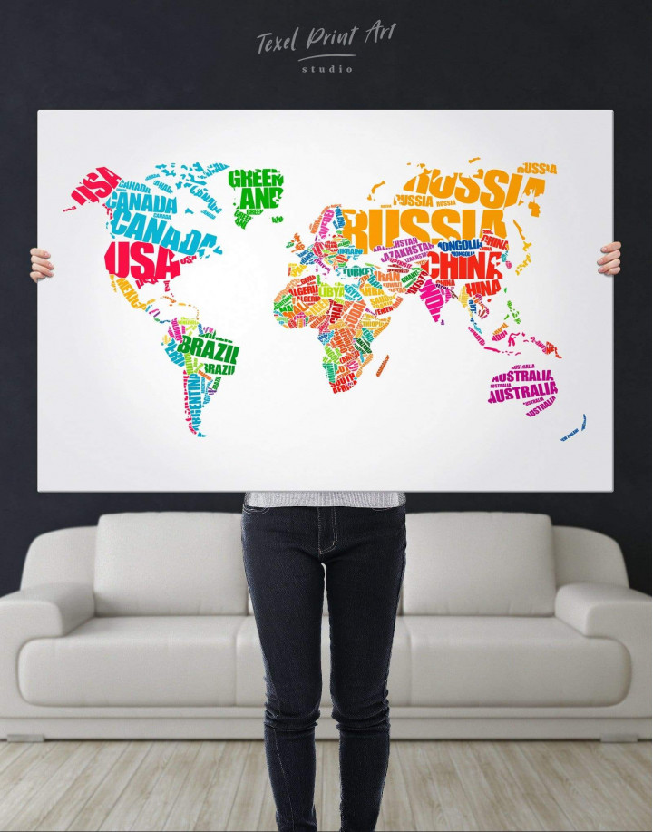 Typography World Map  Canvas Wall Art - Image 2
