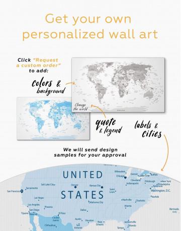 Light Blue World Map Canvas Wall Art - image 2