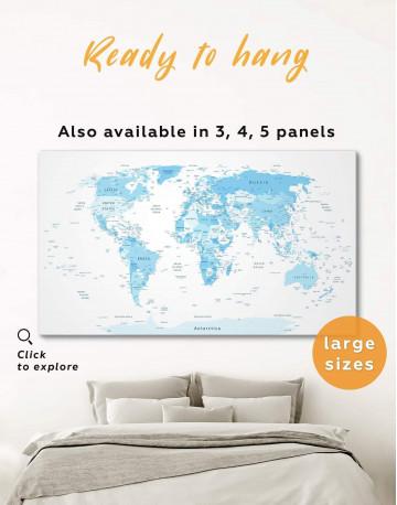 Light Blue World Map Canvas Wall Art
