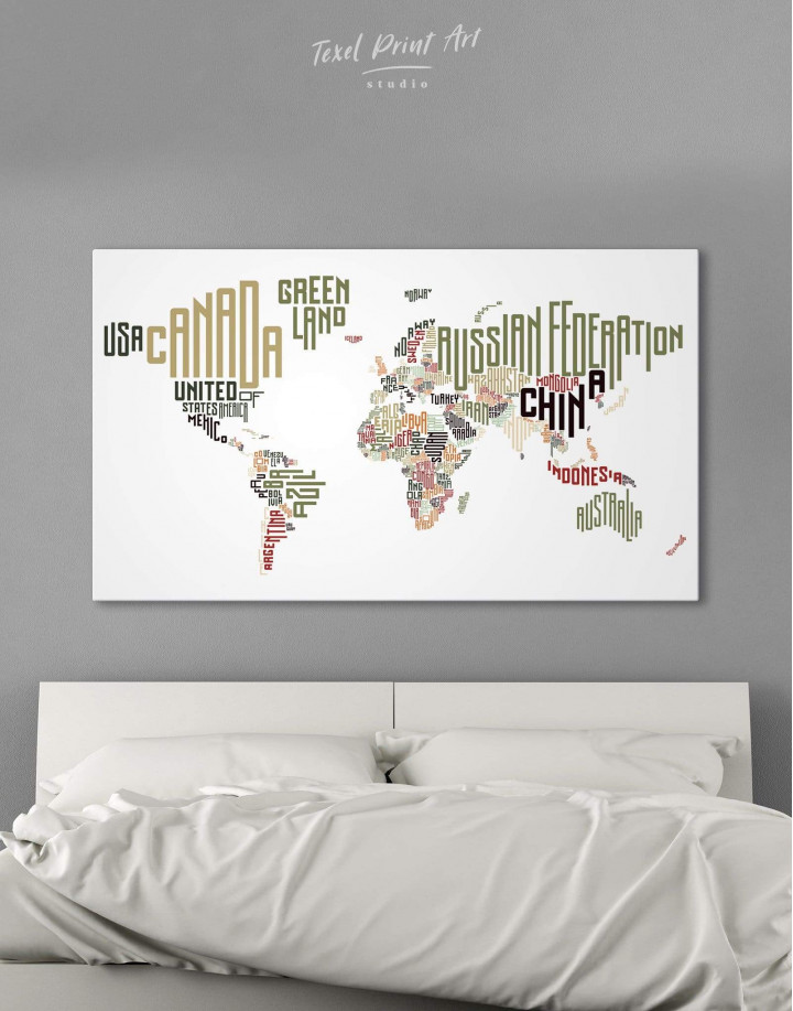 Country Names Map  Canvas Wall Art - Image 0
