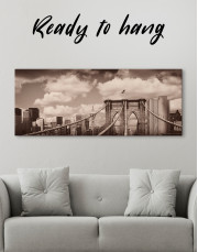 Retro Brooklyn Bridge Canvas Wall Art - Image 2