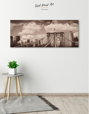 Retro Brooklyn Bridge Canvas Wall Art - image 1