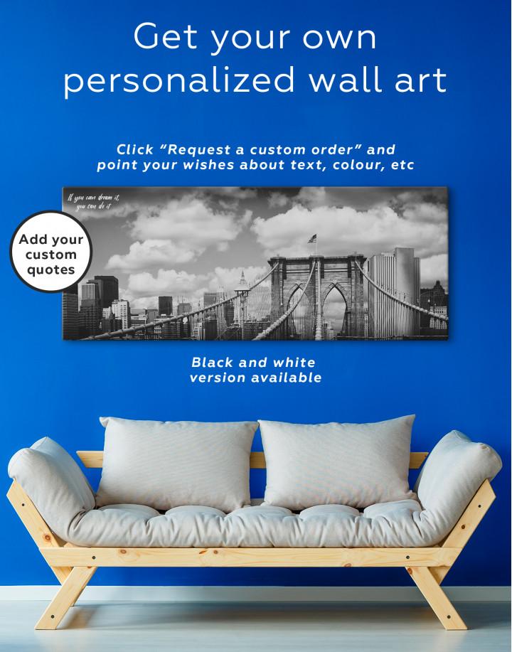 Retro Brooklyn Bridge Canvas Wall Art - Image 3