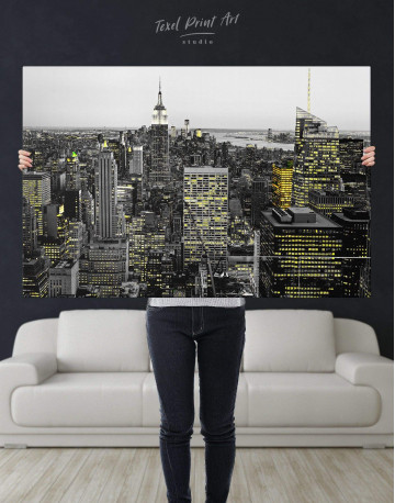 New York Skyline Black and White Canvas Wall Art - image 5