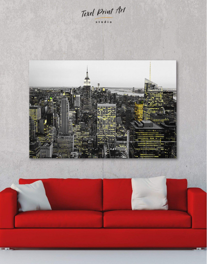 New York Skyline Black and White Canvas Wall Art - Image 0
