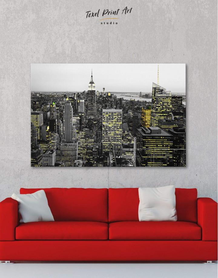 New York Skyline Black and White Canvas Wall Art