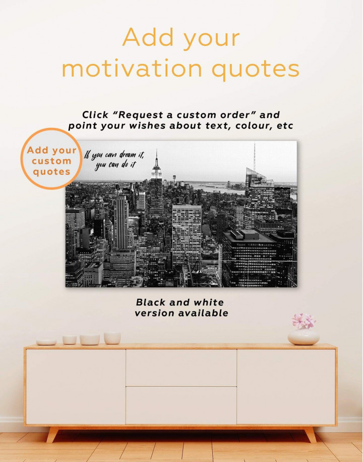 New York Skyline Black and White Canvas Wall Art - Image 1